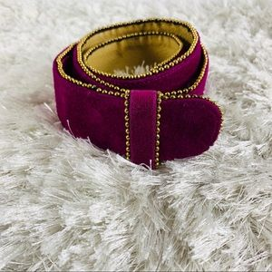 Purple Suede Wide Belt Gold Trim Large